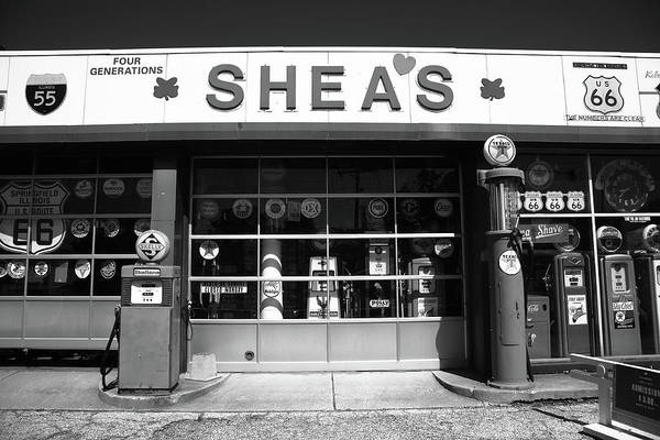 Photograph - Route 66 - Shea's Filling Station 2012 Bw by Frank Romeo