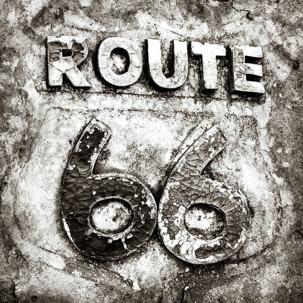 Photograph - Route 66 Weathered Road Sign - Sepia by Gregory Ballos