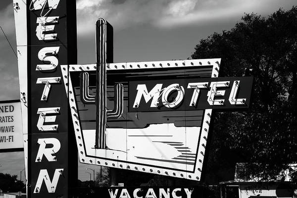 Photograph - Route 66 - Western Motel 2010 Bw by Frank Romeo