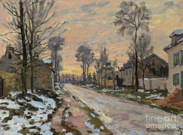 Wall Art - Painting - Route A Louveciennes, Neige Fondante, Soleil Couchant by Claude Monet