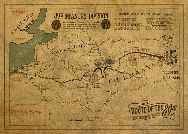 Wall Art - Mixed Media - Route Of The Eighty Ninth Infantry Division World War Two Vintage by Design Turnpike