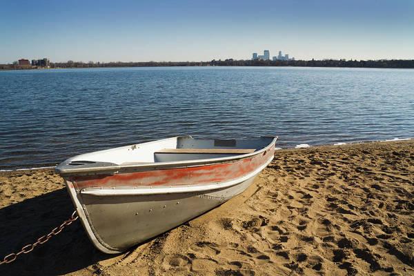 Lakeshore Photograph - Row Boat & City Hz by Yinyang