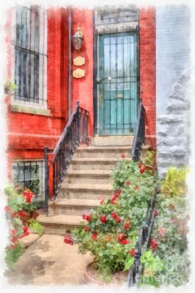 Wall Art - Digital Art - Row Houses Washington Dc 2 Watercolor by Edward Fielding