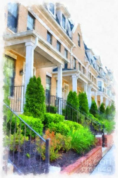 Wall Art - Digital Art - Row Houses Washington Dc Brookland Neighborhood by Edward Fielding