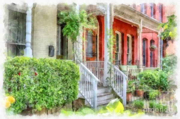 Wall Art - Digital Art - Row Houses Washington Dc by Edward Fielding