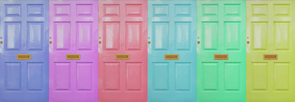 Wall Art - Photograph - Row Of Colorful Doors Digital Composite by Carl Pendle