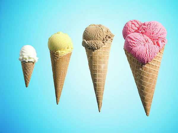 Ice Cream Photograph - Row Of Different Flavor Ice Creams In by Jonathan Knowles