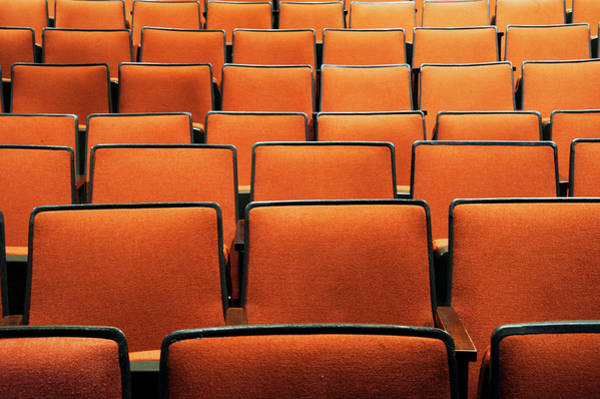 Auditorium Photograph - Row Of Empty Theatre Seats by Marlene Ford