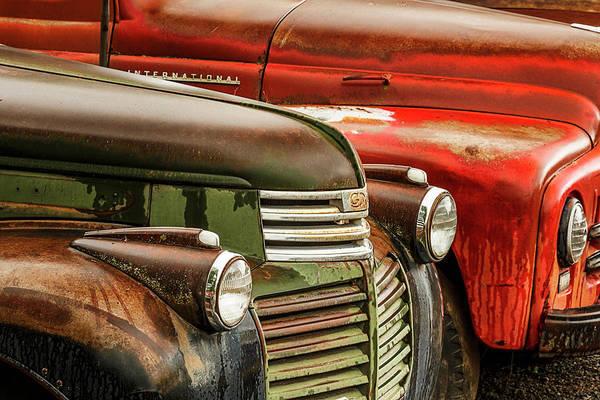 Wall Art - Photograph - Row Of Old Trucks, Palouse Region by Adam Jones