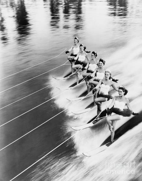 Wall Art - Photograph - Row Of Women Water Skiing by Everett Collection