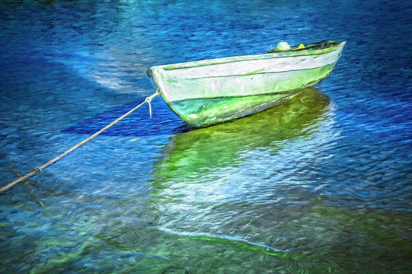 Photograph - Rowboat In Blues Oil Painting by Debra and Dave Vanderlaan