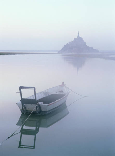 Rowboat Photograph - Rowboat In Foggy Water By Mont Saint by Otto Stadler