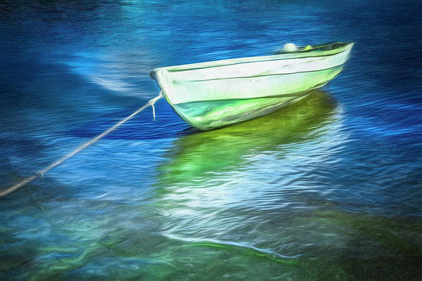 Photograph - Rowboat In Impressionism Blues by Debra and Dave Vanderlaan
