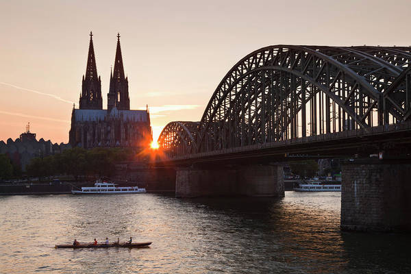 Rhine River Photograph - Rowboat On The Rhine River In Front Of by Heinz Wohner / Look-foto