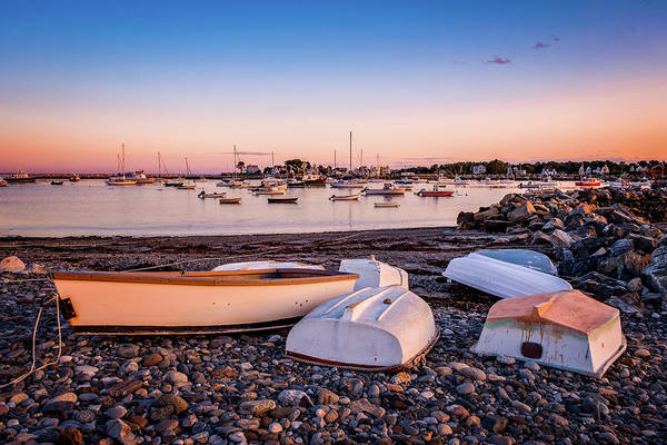 Photograph - Rowboats At Rye Harbor, Sunset by Jeff Sinon