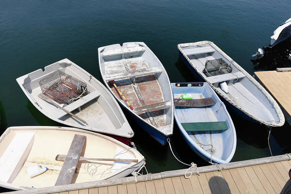 Rowboat Photograph - Rowboats Tired Up In Rockport, Ma Harbor by Genekrebs
