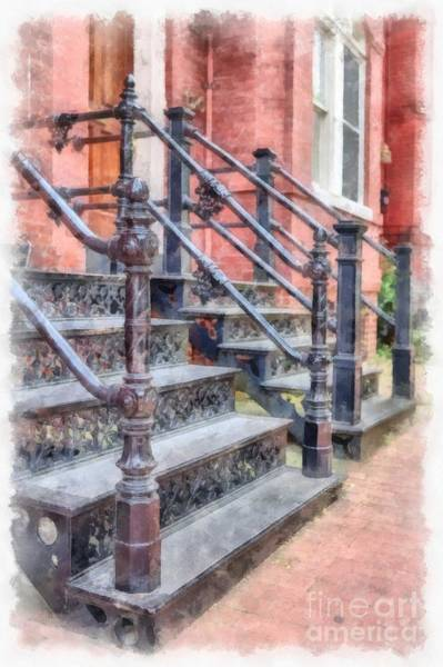 Wall Art - Digital Art - Rowhouse Stairs Washington Dc Neighborhood by Edward Fielding