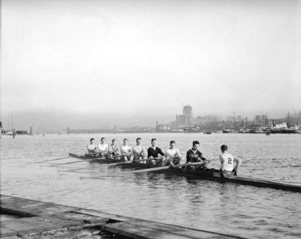 Painting - Rowing Club 8  And Varsity  8  At Vancouver Rowing Club 1930 by Celestial Images