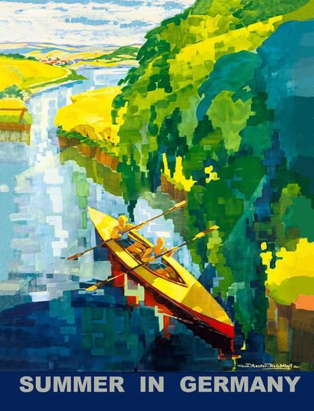 Sails Digital Art - Rowing On German River by Long Shot