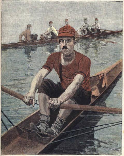 Men Digital Art - Rowing Race, In France. Illustration By by Leemage