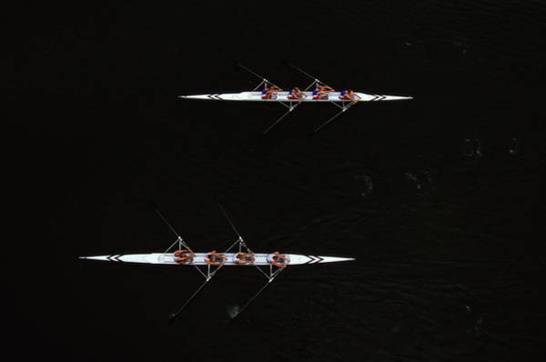Rowing Wall Art - Photograph - Rowing Race, Overhead View by Mike Hewitt