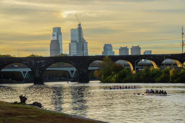 Photograph - Rowing The Schuylkill - Cityscape At Dawn by Bill Cannon