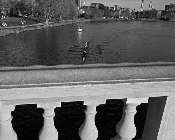 Photograph - Rowing Towards The Weeks Bridge Charles River Harvard Square Cambridge Ma Black And White by Toby McGuire