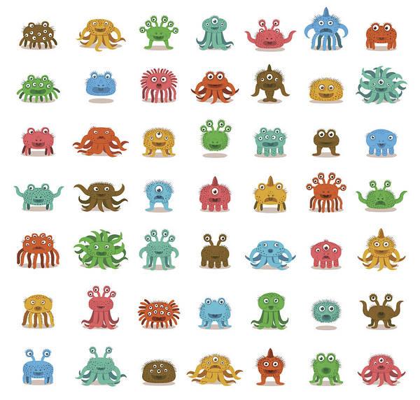 Full Length Digital Art - Rows Of Cute Monsters by Zeptonn