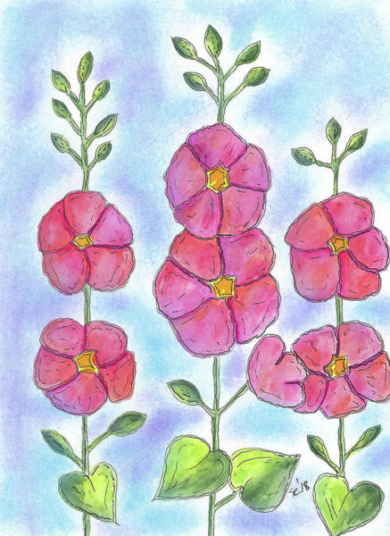 Painting - Rows Of Pink Flowers by Susan Campbell