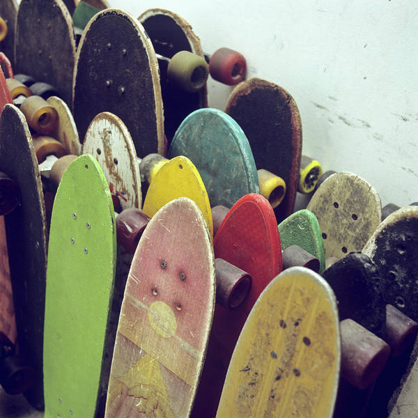 Skateboard Photograph - Rows Of Used Skateboards Leaning by Fstop Images - Brian Caissie