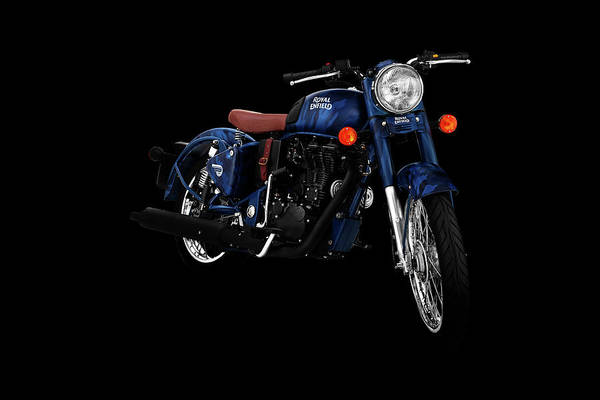Wall Art - Mixed Media - Royal Enfield Classic 500 Squadron Blue by Smart Aviation