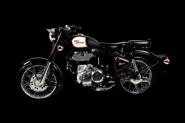 Wall Art - Mixed Media - Royal Enfield Classic Black by Smart Aviation