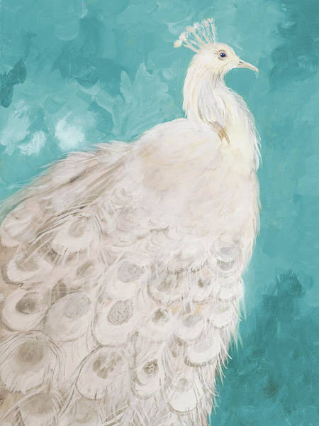 Wall Art - Painting - Royal Plume On Teal by Robin Maria
