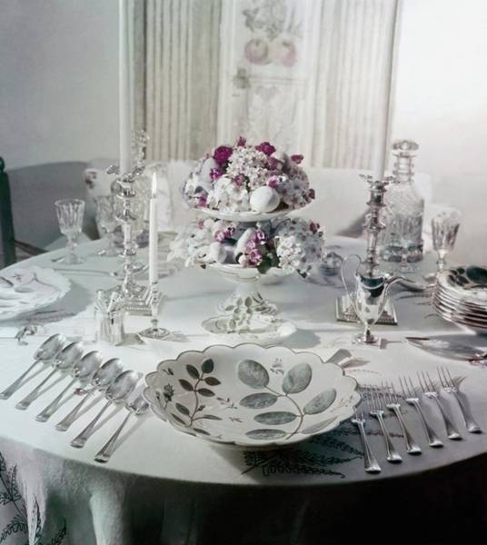 Wall Art - Photograph - Royal Worchester Table Setting by Horst P. Horst