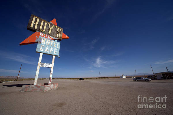 Route Photograph - Roys Sign On Route 66 by David Aleksandrowicz