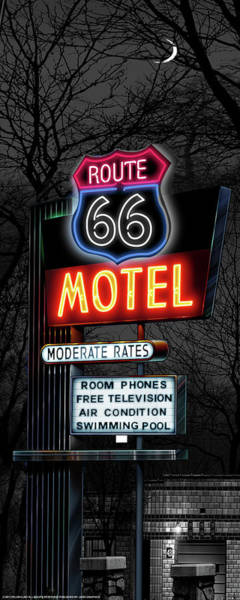 Neon Sign Painting - Rt 66 Motel by Flint