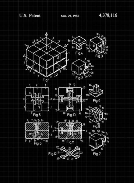 Rotating Digital Art - Rubik's Cube Patent 1983 - Black And White by Marianna Mills