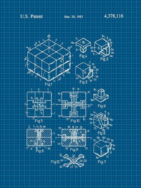Rotating Digital Art - Rubik's Cube Patent 1983 - Blueprint by Marianna Mills