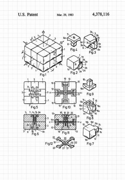 Rotating Digital Art - Rubik's Cube Patent 1983 by Marianna Mills