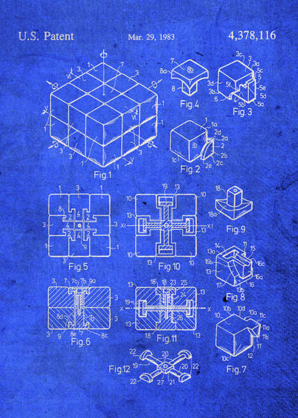 Toy Mixed Media - Rubiks Cube Toy Puzzle Patent Blueprint by Design Turnpike