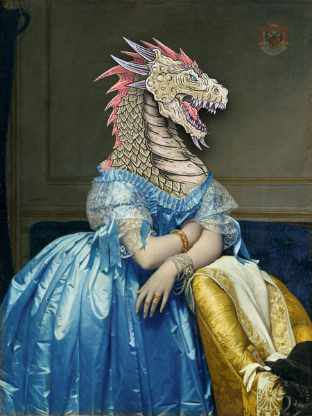 Painting - Rubino Dragon Woman Portrait Mother Of Dragons by Tony Rubino