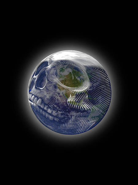 Wall Art - Painting - Rubino Earth Planet Skull by Tony Rubino
