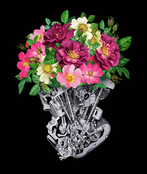 Painting - Rubino Engine And Flowers by Tony Rubino