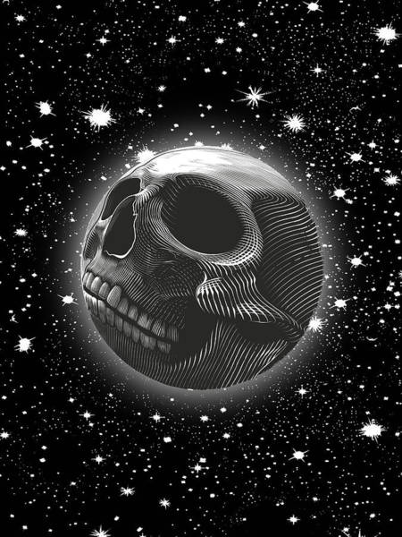 Wall Art - Painting - Rubino Moon Planet Skull 2 by Tony Rubino