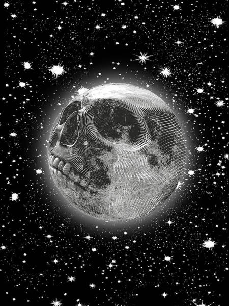 Wall Art - Painting - Rubino Moon Planet Skull by Tony Rubino