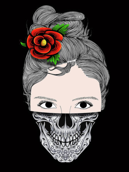 Painting - Rubino Skull Woman Face by Tony Rubino