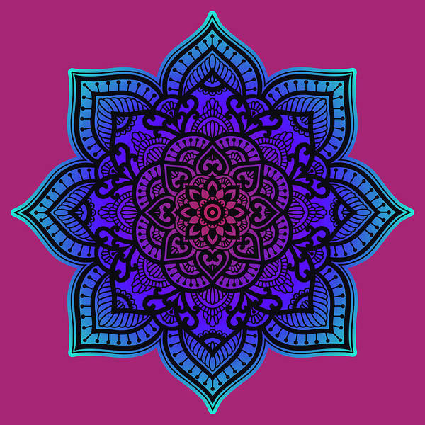 Wall Art - Painting - Rubino Zen Flower Yoga Mandala Asia Purple by Tony Rubino