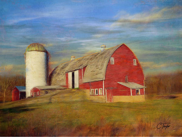 Farm Landscape Mixed Media - Ruby Red Barn Country by Colleen Taylor