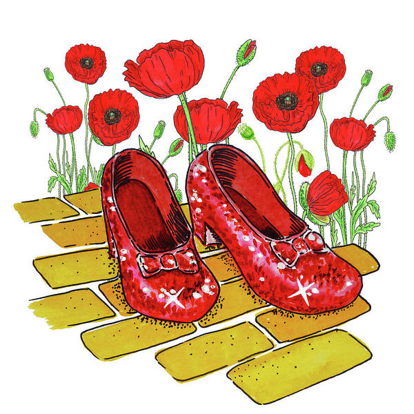 Wall Art - Painting - Ruby Slippers Red Poppies Wizard Of Oz by Irina Sztukowski