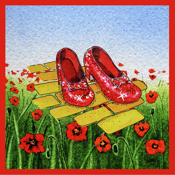 Painting - Ruby Slippers Yellow Brick Road Wizard Of Oz by Irina Sztukowski